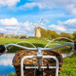 Fietsen in de natuur met nederlandse windmolens op de achtergrond