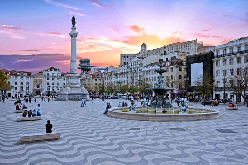 Rossio square in Lissabon Portugal