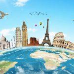 De wereld bol en een aantal bekende bezienswaardigheden
